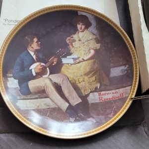 Norman Rockwell plate pondering on the porch